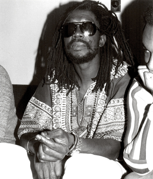 """Diane Liverpool, Peter Tosh at O'Keefe Centre, 1981. Silver gelatin print, 8x10"""". © Diane Liverpool."""