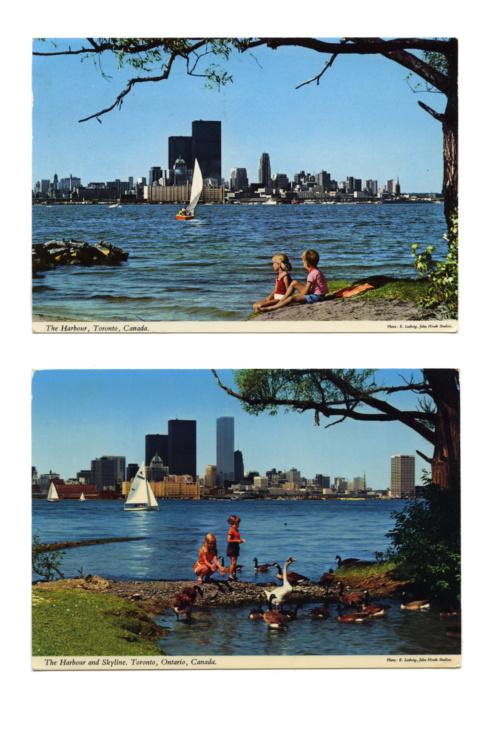 Luis Jacob, Sightlines, 2017. Vintage postcards. Courtesy of the artist.