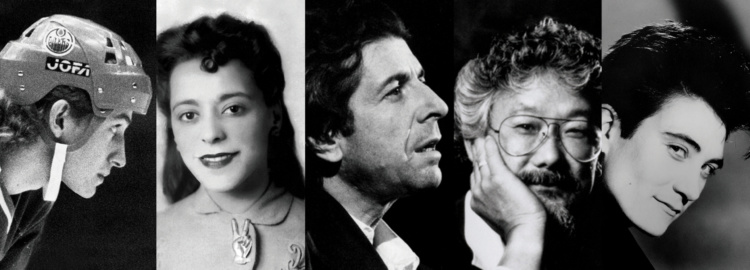 Detail of, Spotlight Canada: Faces That Shaped a Nation, [Wayne Gretzky, Viola Desmond, Leonard Cohen, David Suzuki, k.d. lang]. Courtesy of Ryerson Image Centre, Ryerson University.
