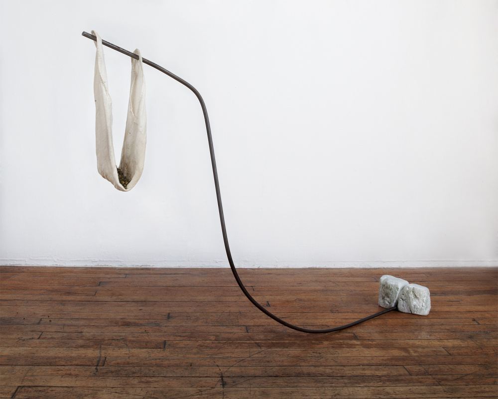 Mickey Mackenna, Untitled, 2016. Metal, soap stone, cheese cloth, dried anti-anxiety tea, dimensions variable.