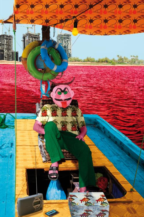 "Malekeh Nayiny , Sailing through the Red Sea, 2007. Chromogenic print, 47.24x31.5""."