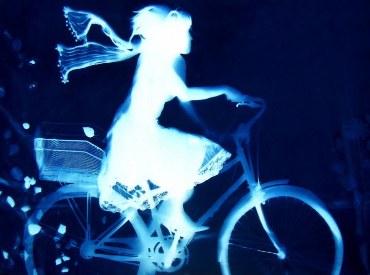 "Andrew Owen A01, Elegant Cyclist;, 2014, cyanotype solargraph on fabric; 60 x 84 x 2"" / 5 x 7 ft."