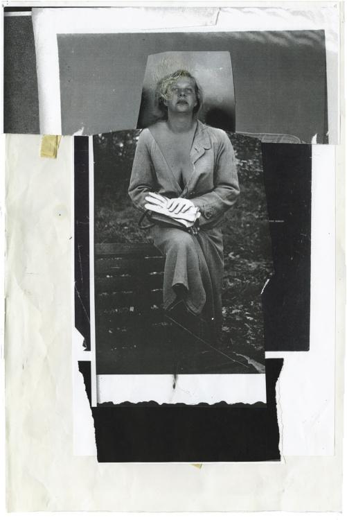 """Angela Grossmann, Gloves, 2015. Mixed-media including human hair, 14x20""""."""