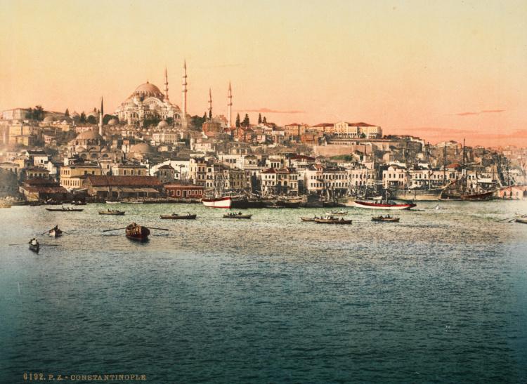 "Photoglob Zurich, Golden Horn and Suleymaniye Mosque, c. 1890. Photochrom print from the presentation album ""Constantinople."""