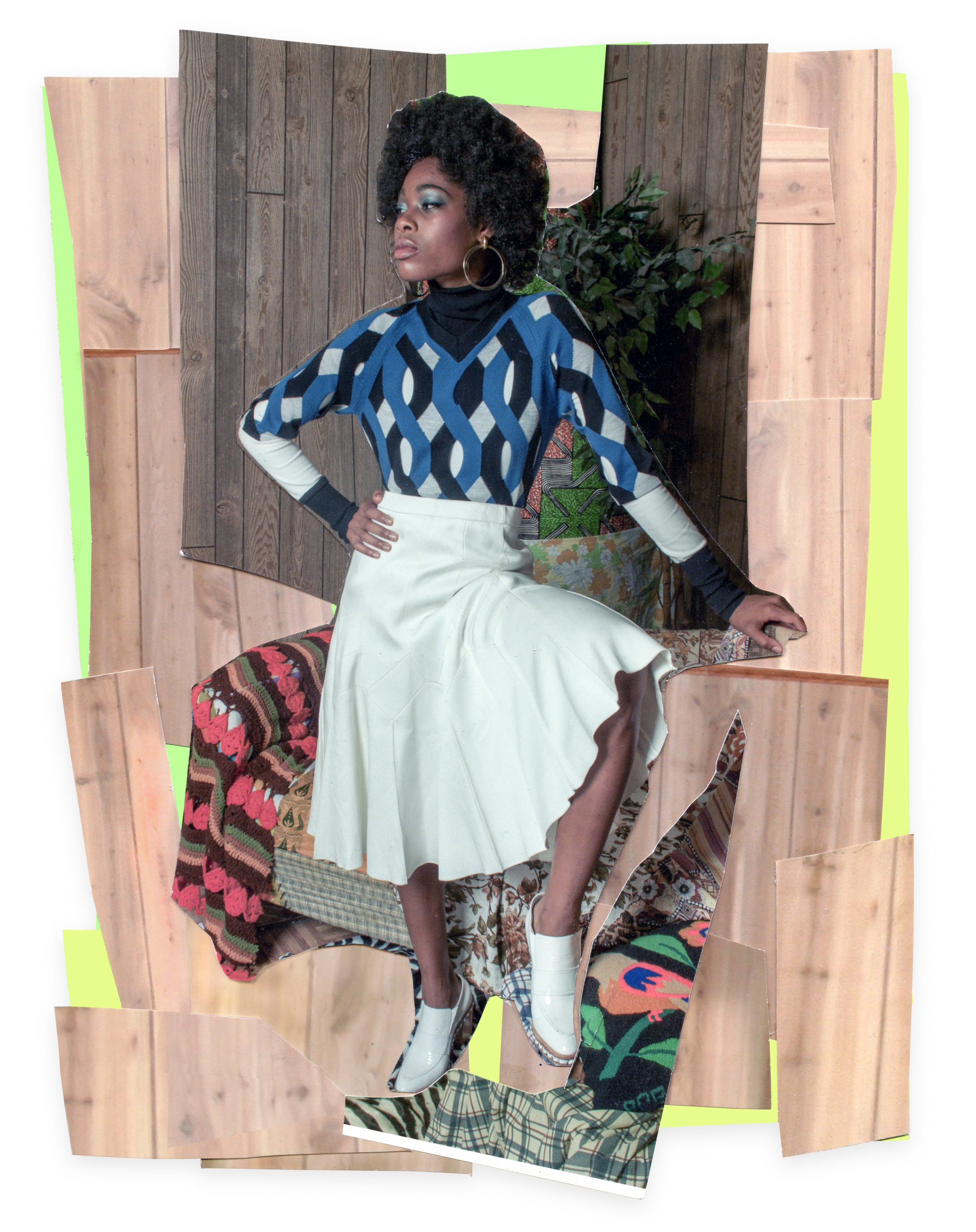 """Mickalene Thomas, Liz with White Skirt and White Shoes, 2015. Colour photograph and paper collage on archival board, original artwork dimensions 11.25 x 8.5"""". © Mickalene Thomas / SODRAC (2016). Courtesy of the artist and Artists Rights Society (ARS), New York"""