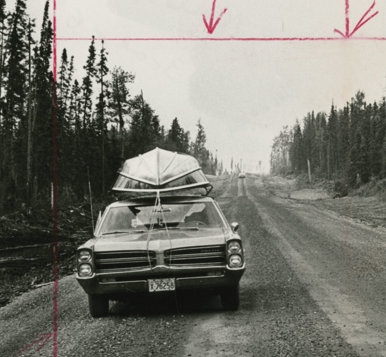 Unidentified Photographer, Along the new Highway, which runs from Smooth Rock Falls to Fraserdale, Ontario, there's no sign of human habitation apart from one empty lumber camp, (detail), c.1966. Gelatin Silver Print, 23.4 x 17.5cm. Gift of The Globe and Mail Newspaper to the Canadian Photography Institute of the National Gallery of Canada.