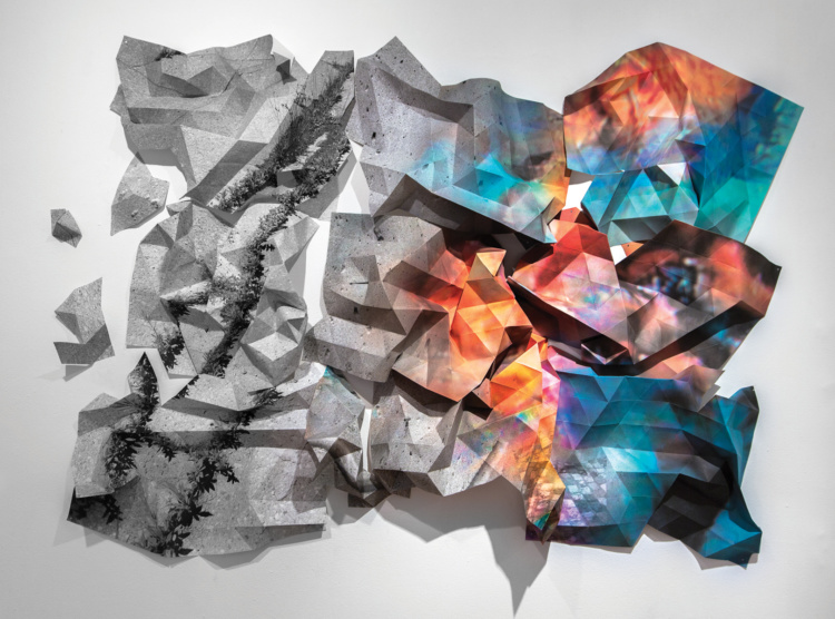 "Jessica Thalmann, Utopos (Ross Building), 2015. Folded Archival pigment print, 70 x 40""."