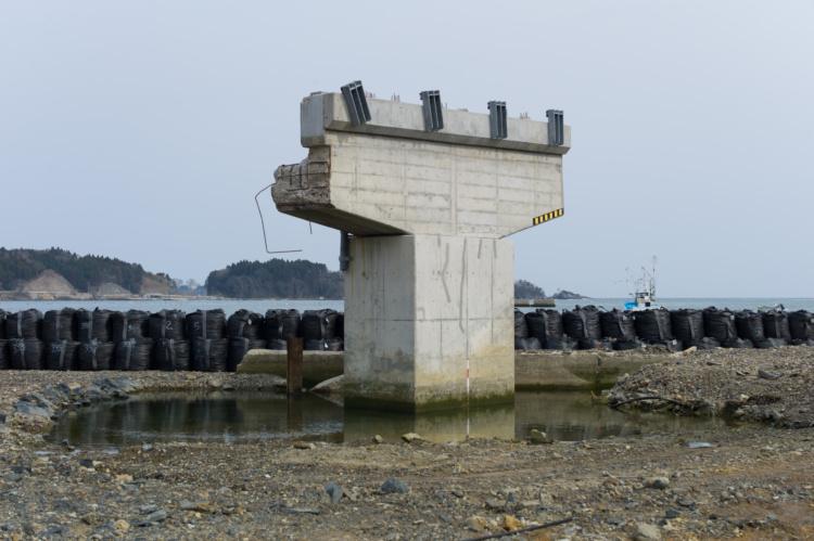 "Michel Huneault, Utatsu Remains of a Bridge Damaged by Tsunami, 2012. Archival pigment print, 20 x 30""."