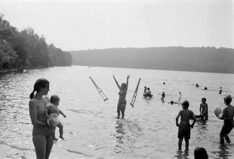"Joel Meyerowitz, Anawanda Lake, New York, 1970. Archival pigment print, 11 x 14"". Courtesy of Howard Greenberg Gallery."