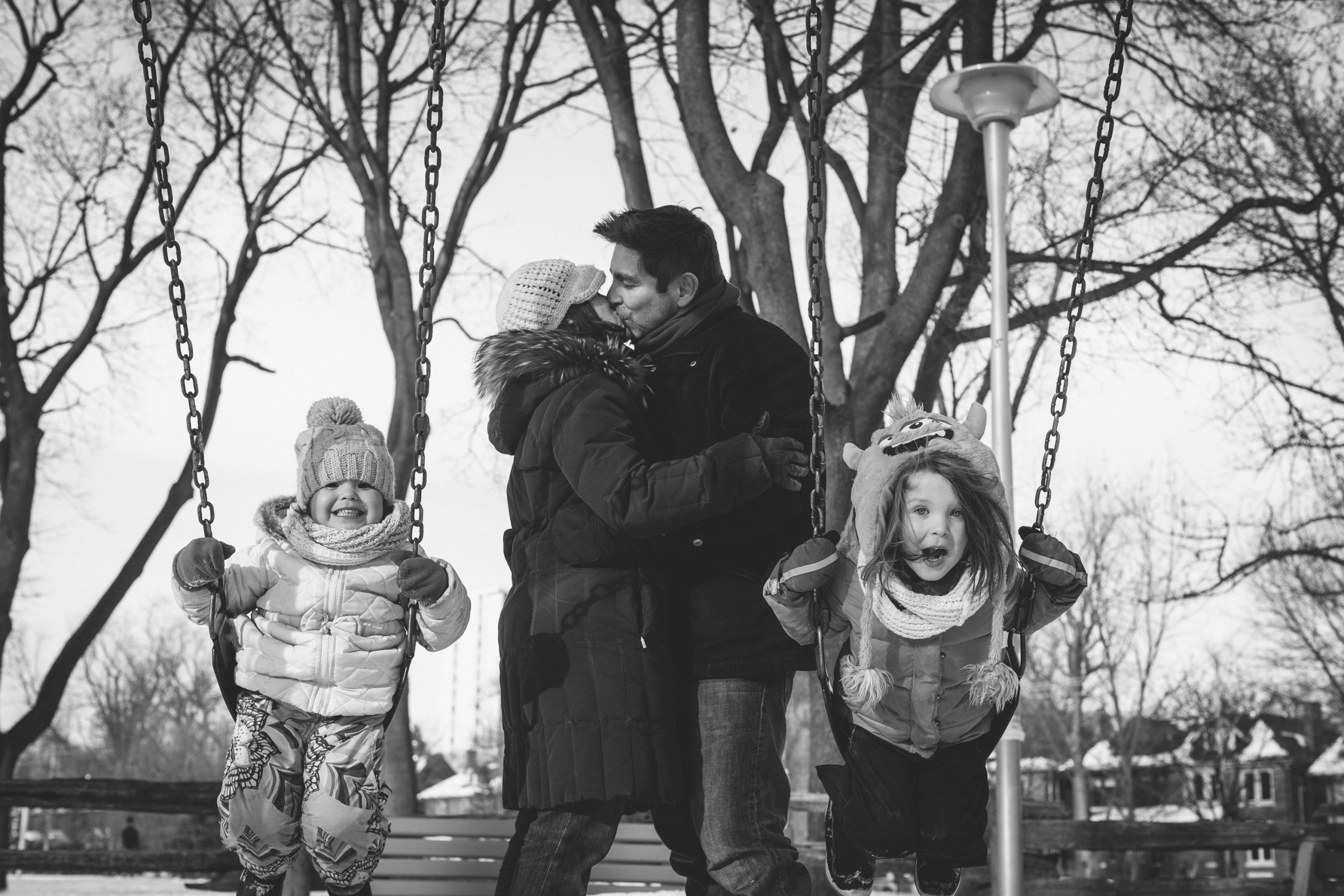 Colin Boyd Shafer, Jessica and Mark Embracing in Toronto's Dufferin Grove Park, 2015