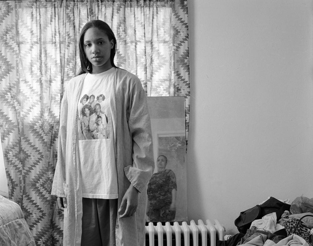 LaToya Ruby Frazier, Huxtables, Mom and Me, 2008. Gelatin silver print, 24 x 28