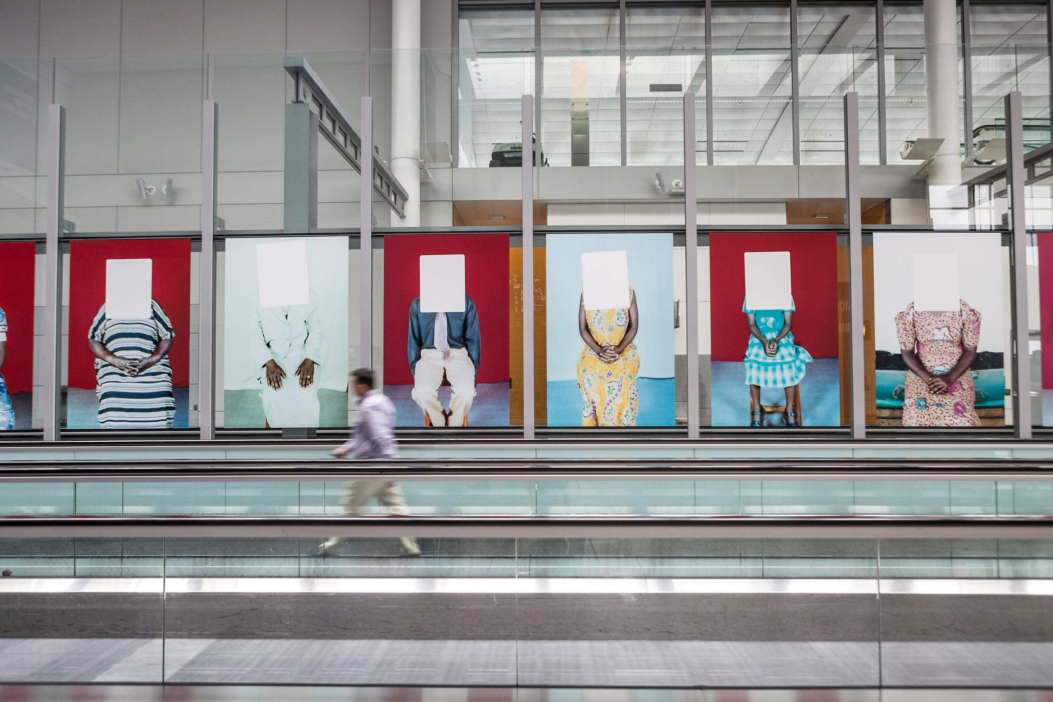 Installation view of Martina Bacigalupo Gulu Real Art Studio at Pearson International Airport, ,  Photo: Toni Hafkenscheid