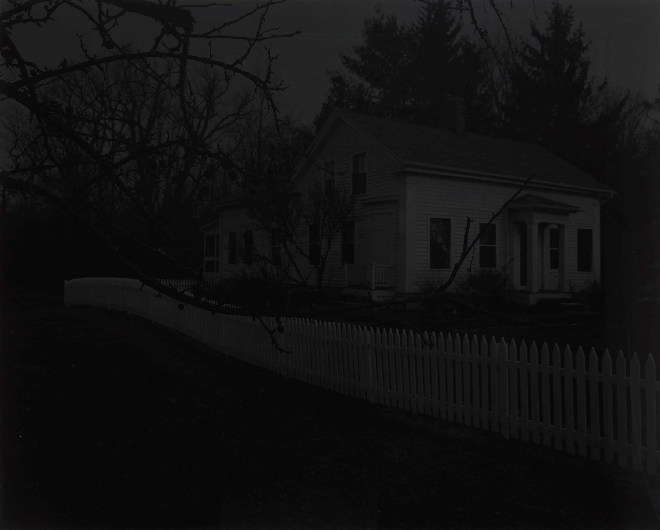 Dawoud Bey, Untitled #20 (Farmhouse and Picket Fence II), 2017. From the series Night Coming Tenderly, Black (2016–17). Gelatin silver print, 121.9 x 149.9 cm. Art Gallery of Ontario, Purchase, with funds from the Photography Curatorial Committee, 2019. © Dawoud Bey 2019/2251.