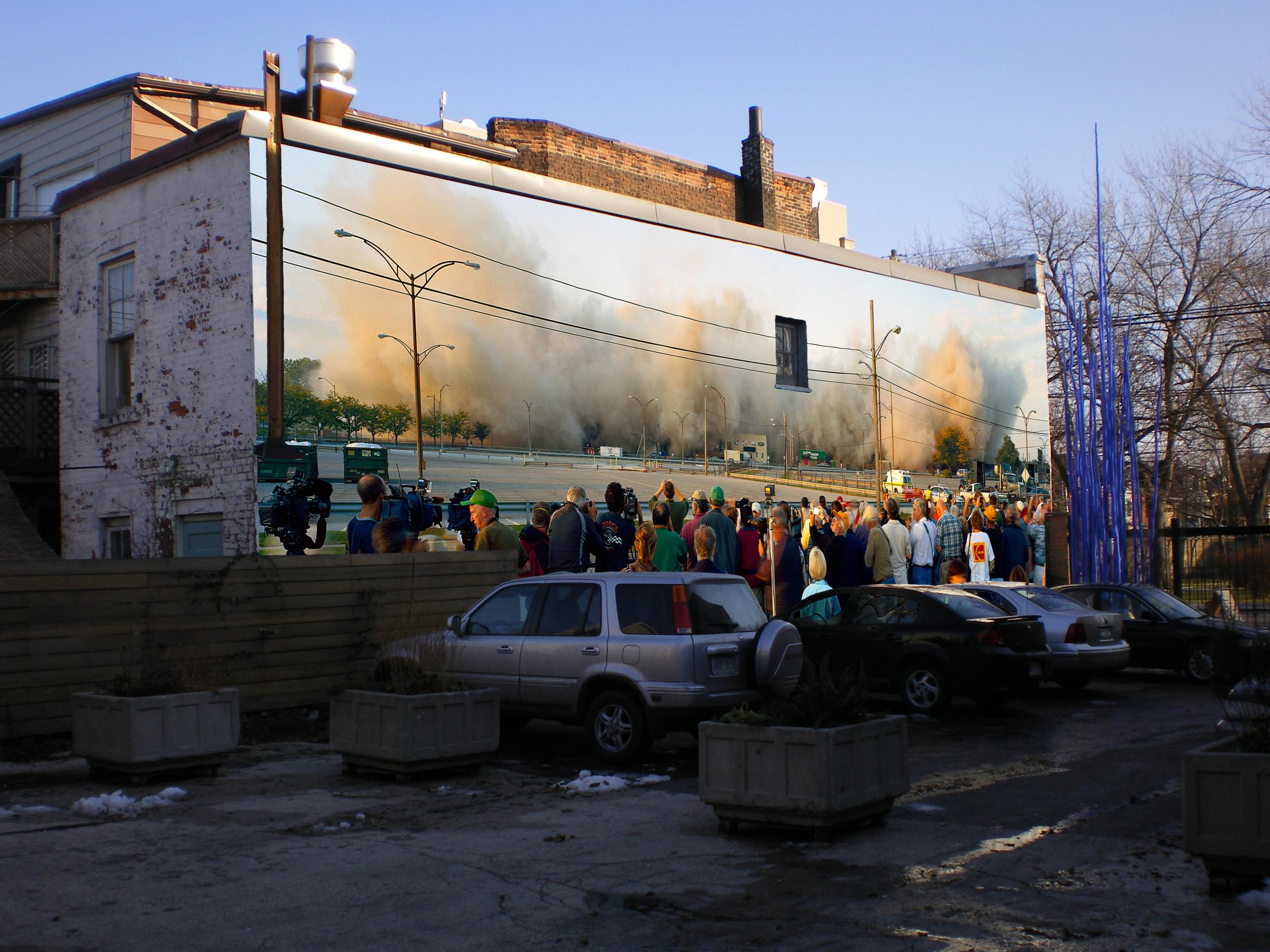 Robert Burley (installation photomontage), Implosion of Buildings #65 & #69, Kodak Park, 2007 (detail)