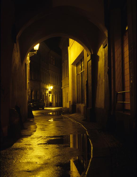 Dan Falk, Prague After Dark: The Alley, C-Print from slide film, 18 x 12