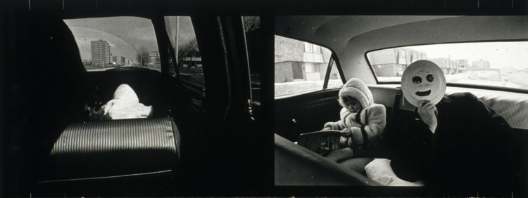 Thomas Barrow, Masked Don D. & Melissa in T-Town, 1969, Gelatin silver print 13.0 x 34.2 cm.