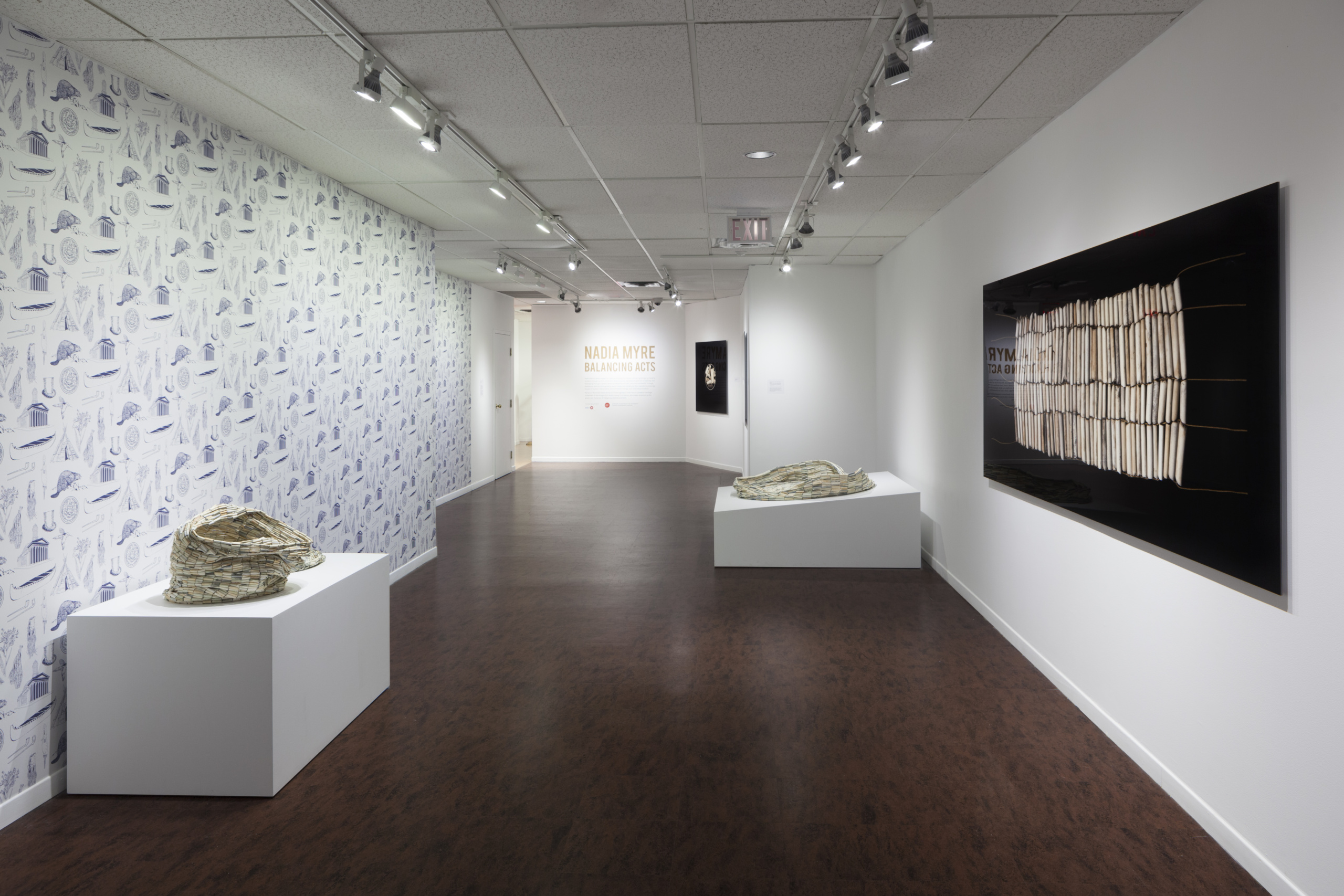 Installation view, Nadia Myre, Balancing Acts, Photo: Darren Rigo. Courtesy of the Textile Museum of Canada.