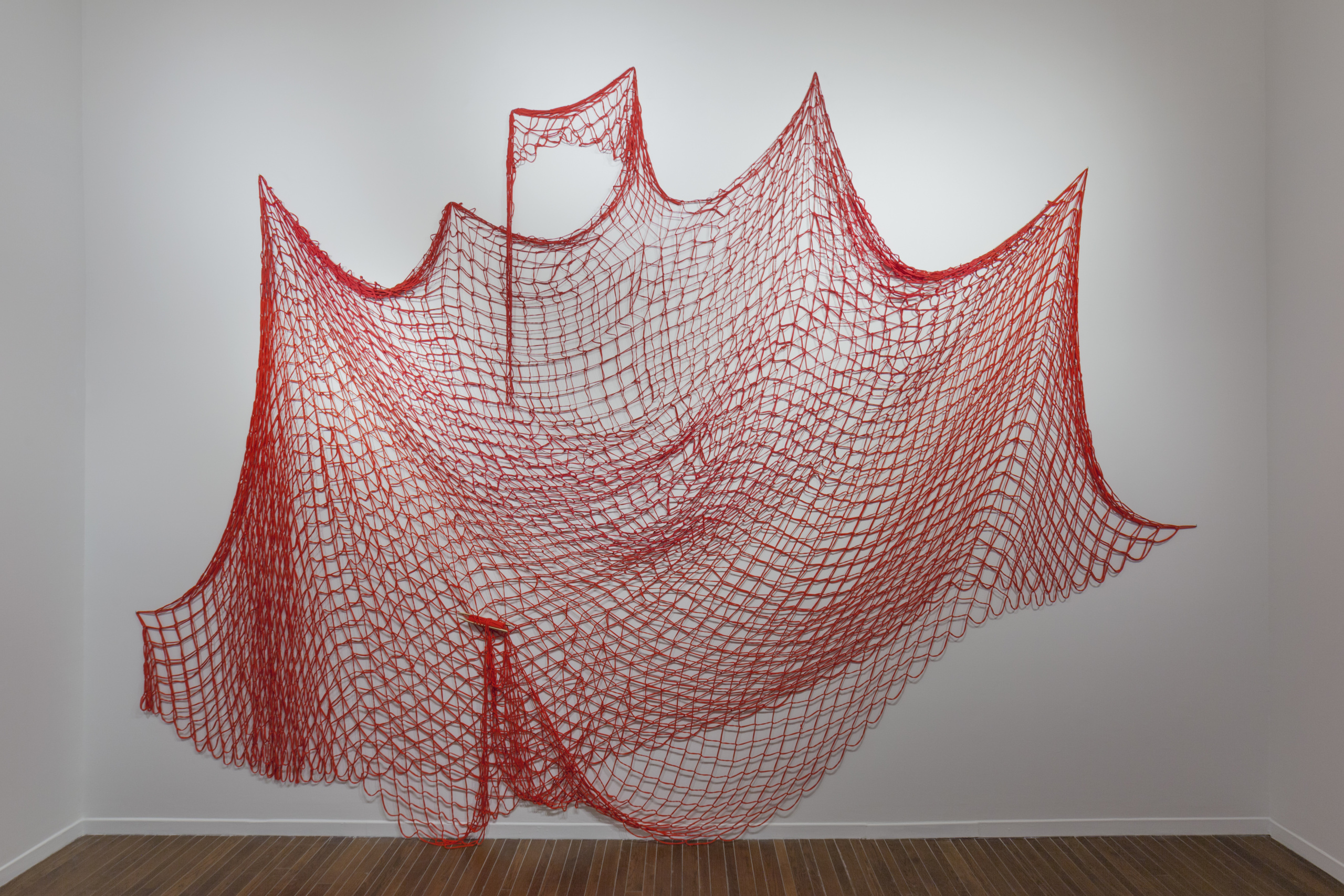 Installation view, Nadia Myre, Red Net (working title), 2019. Recycled cotton jersey.