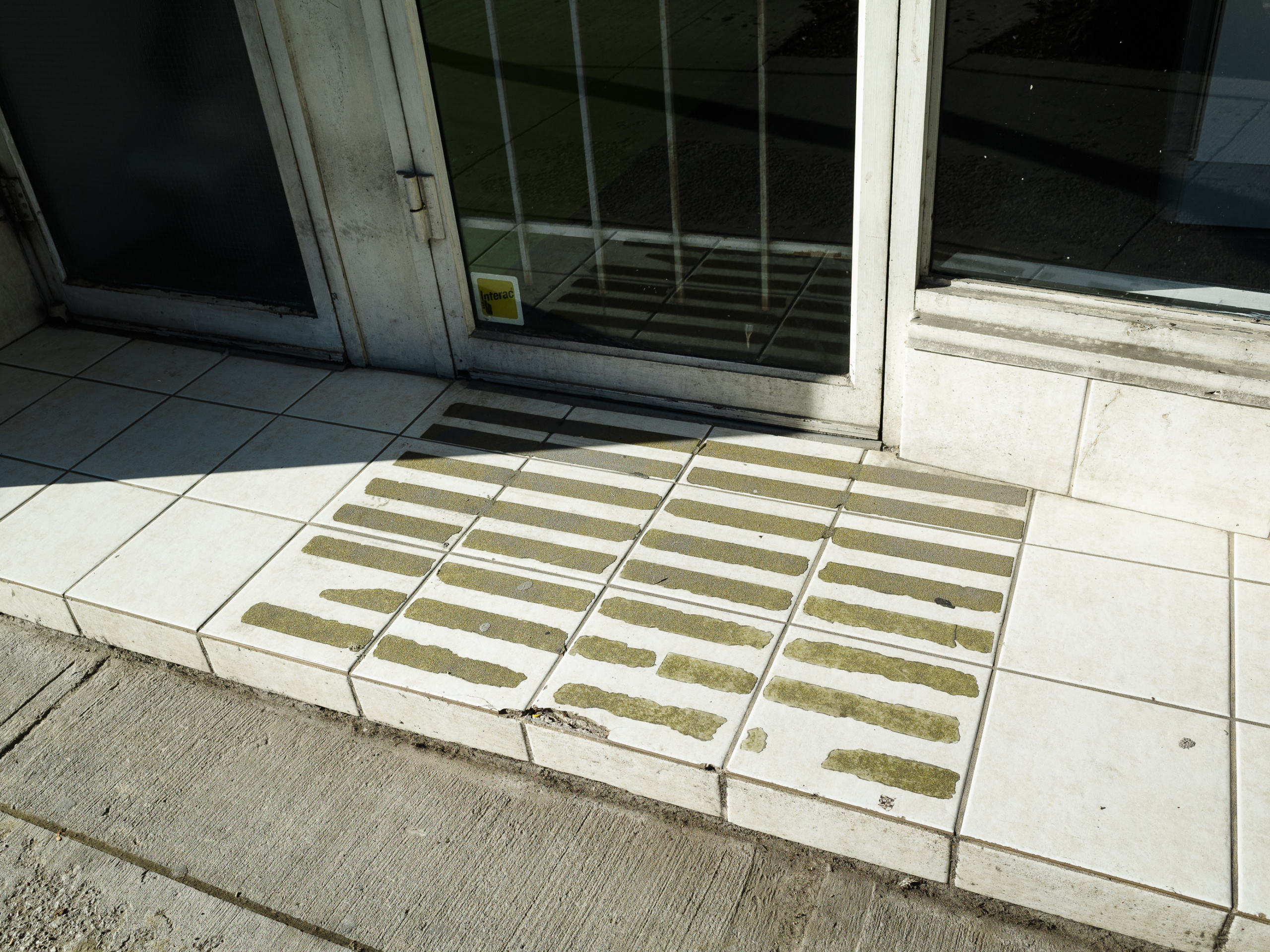 Atanas Bozdarov and Craig Rodmore, Every Step on Queen Street West (white tiles, anti-slip tape), 2020