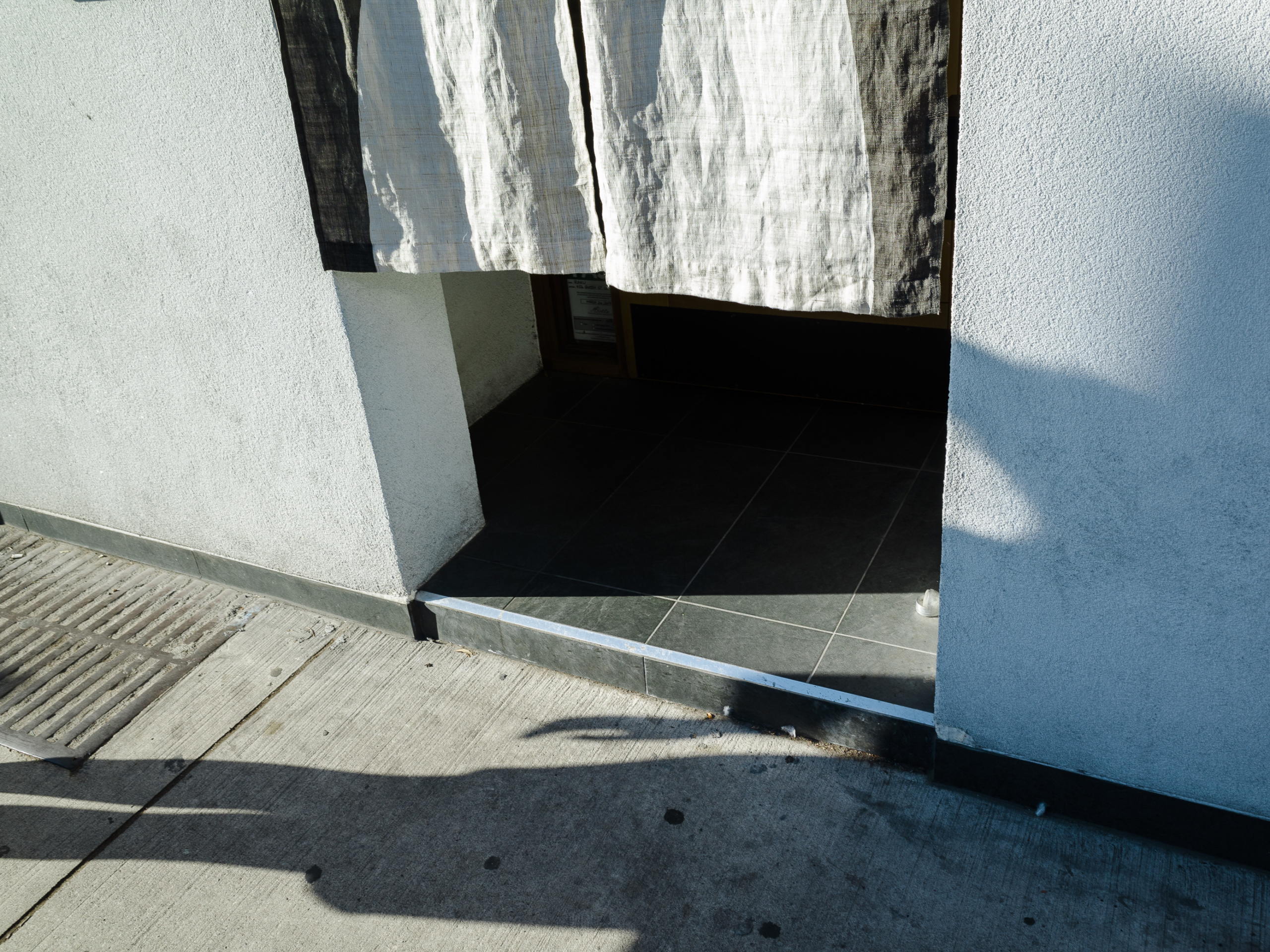 Atanas Bozdarov and Craig Rodmore, Every Step on Queen Street West (grey tiles, curtain), 2020