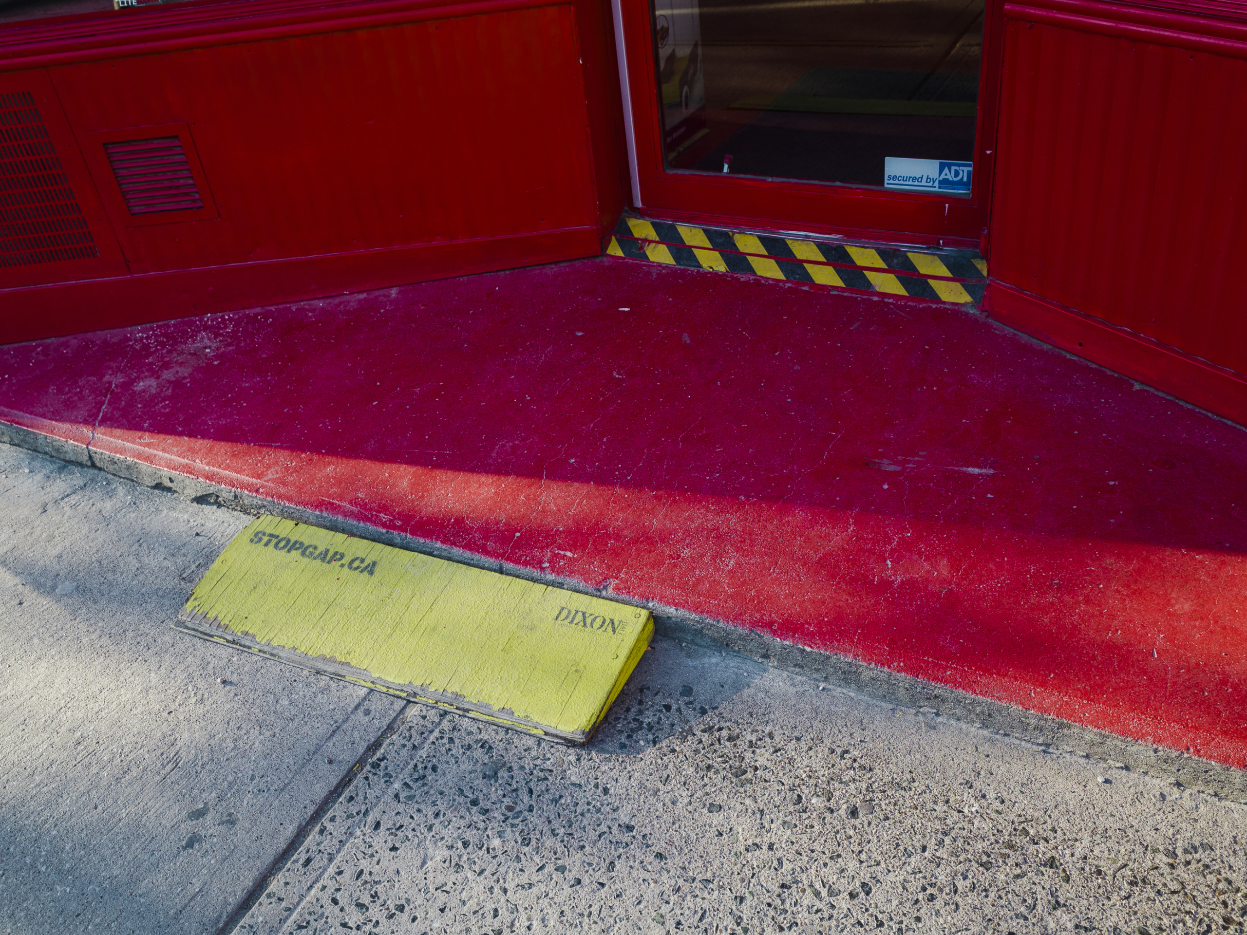 Atanas Bozdarov and Craig Rodmore, Every Ramp on Queen Street West (small yellow, caution tape, red), 2020