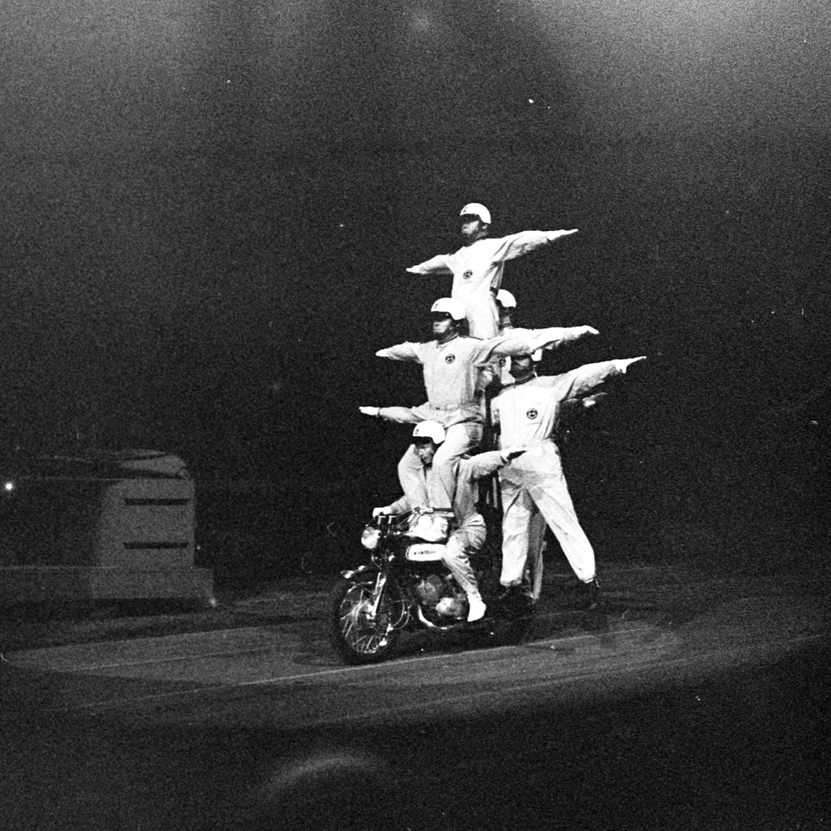 Motorcycle Stuntmen at CNE Grandstand, August 28, 1971, Canadian National Exhibition Archives, MG5-F2942-I10. Courtesy of the CNEA