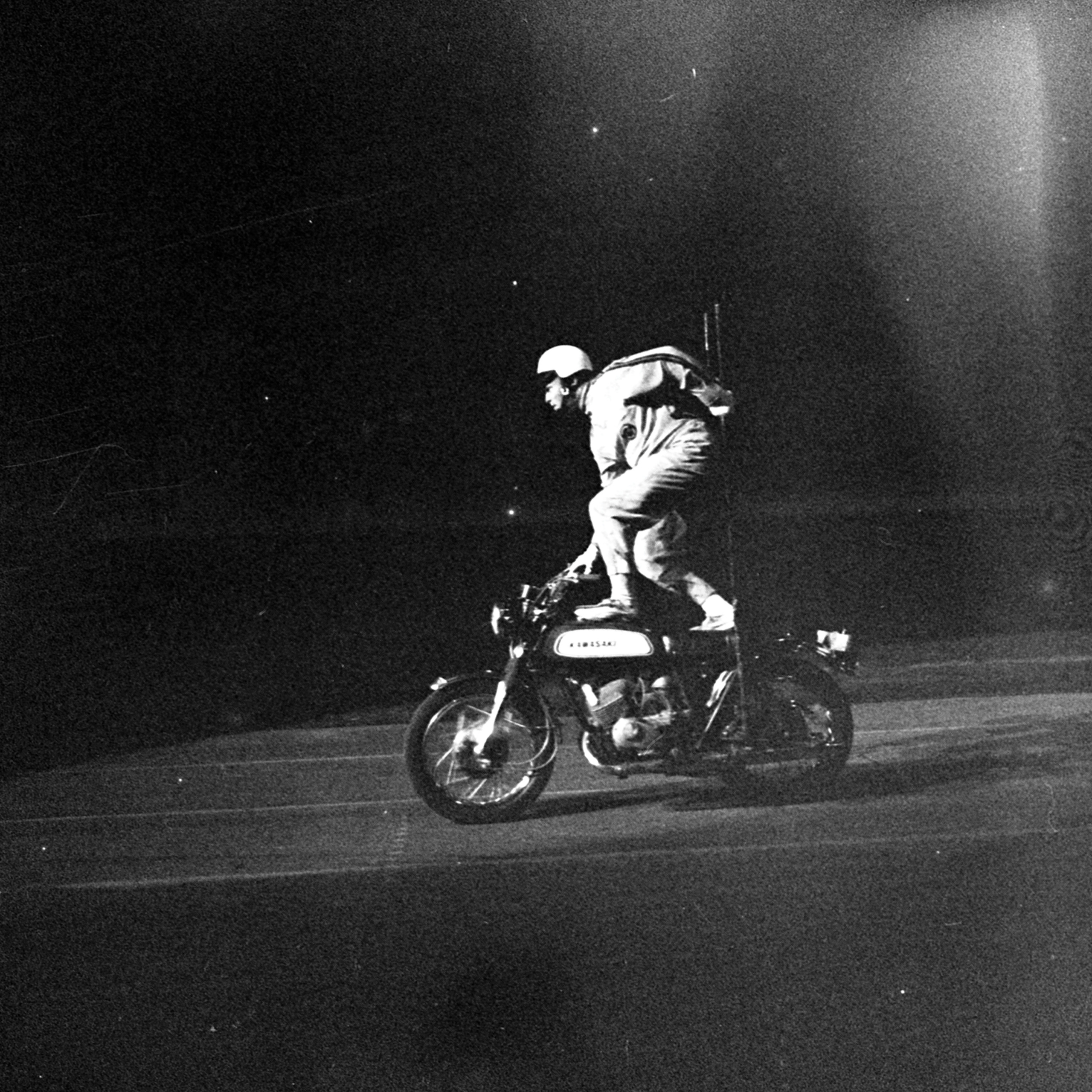 Motorcycle Stuntman at CNE Grandstand, August 28, 1971, Canadian National Exhibition Archives, MG5-F2942-I9. Courtesy of the CNEA