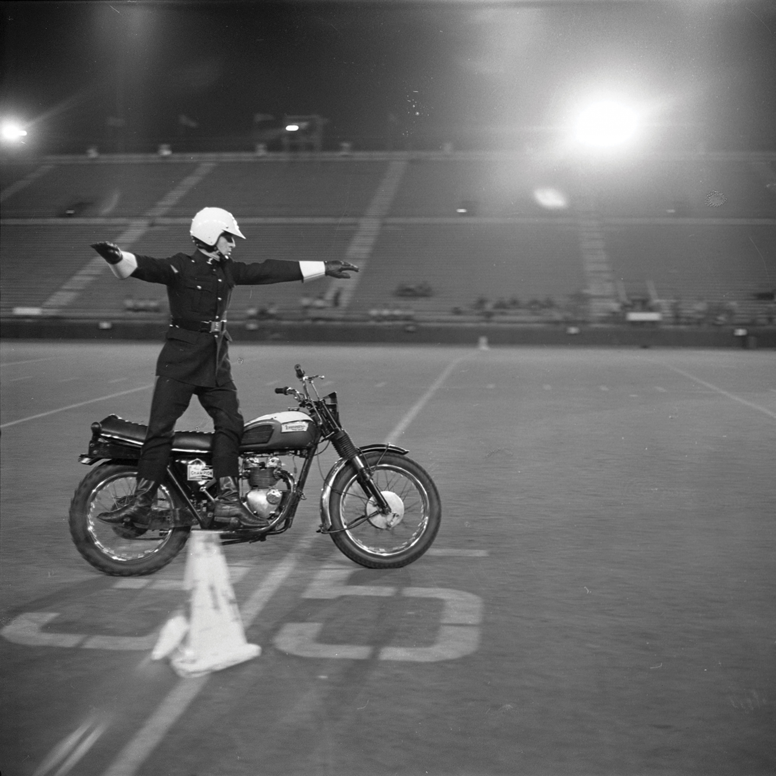 Motorcycle Rehearsal at CNE Grandstand, 1974. Canadian National Exhibition Archives, MG5-F3570-I1. Courtesy of the CNEA