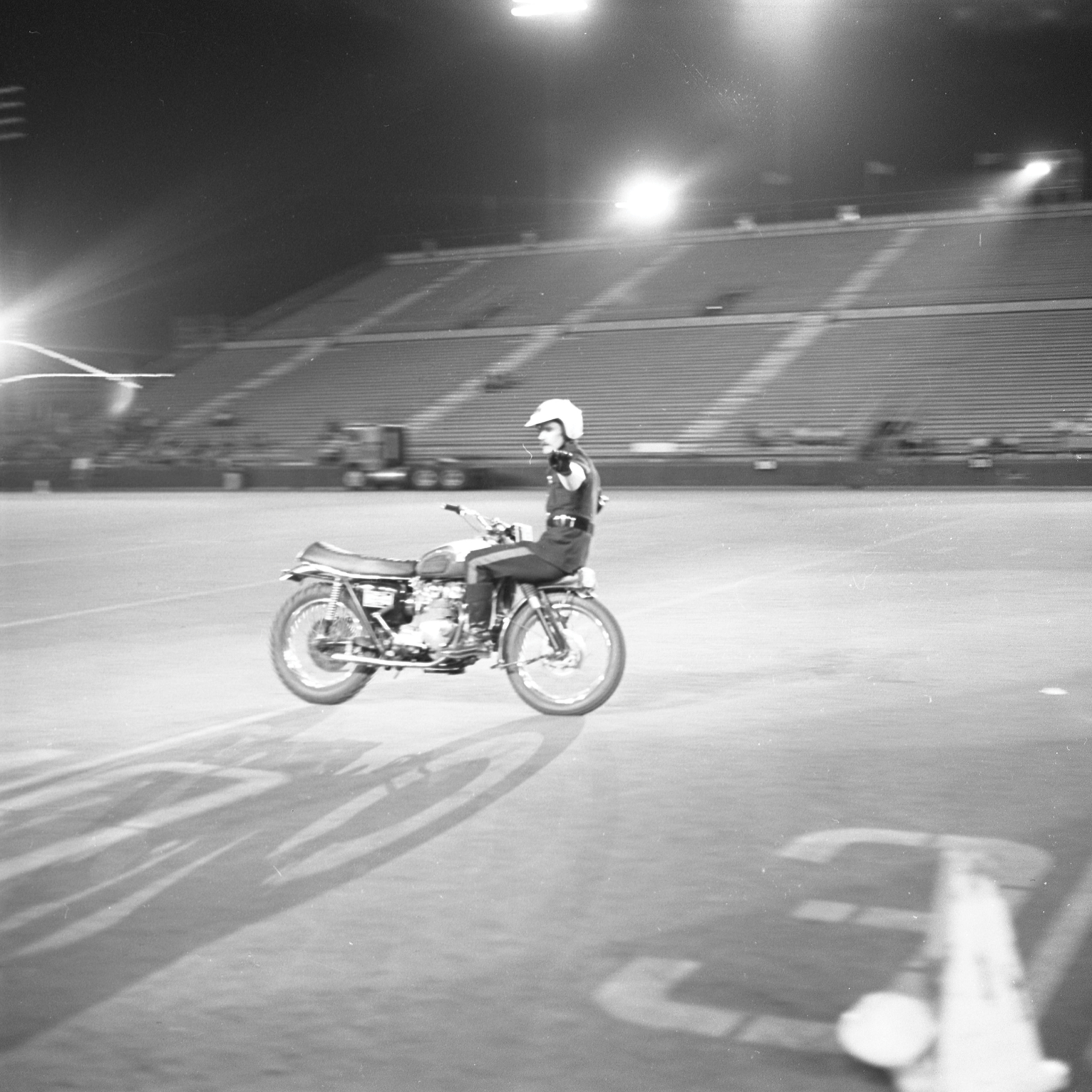 Motorcycle Rehearsal at CNE Grandstand, 1974. Canadian National Exhibition Archives, MG5-F3570-I2. Courtesy of the CNEA