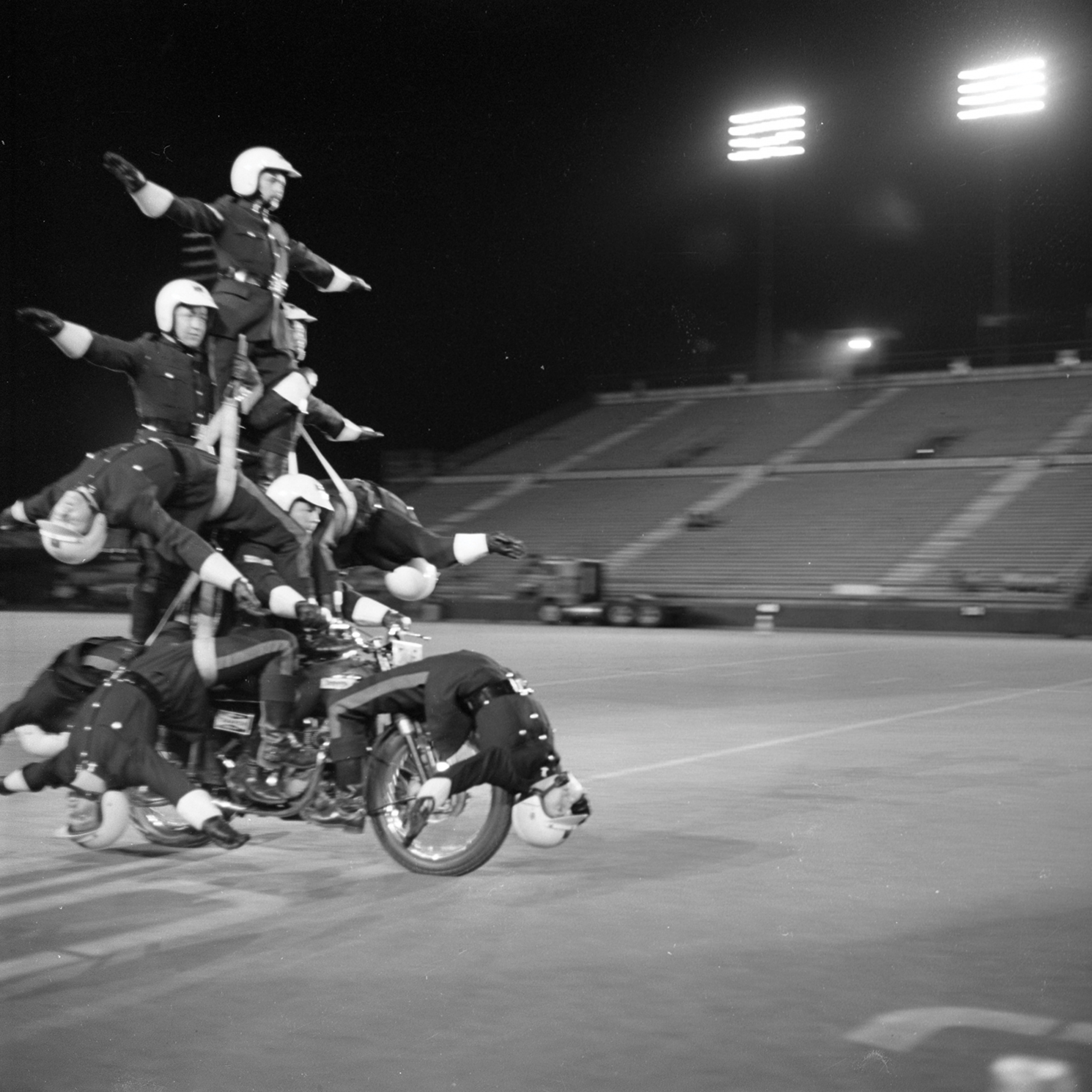 Motorcycle Rehearsal at CNE Grandstand, 1974. Canadian National Exhibition Archives, MG5-F3570-I3. Courtesy of the CNEA