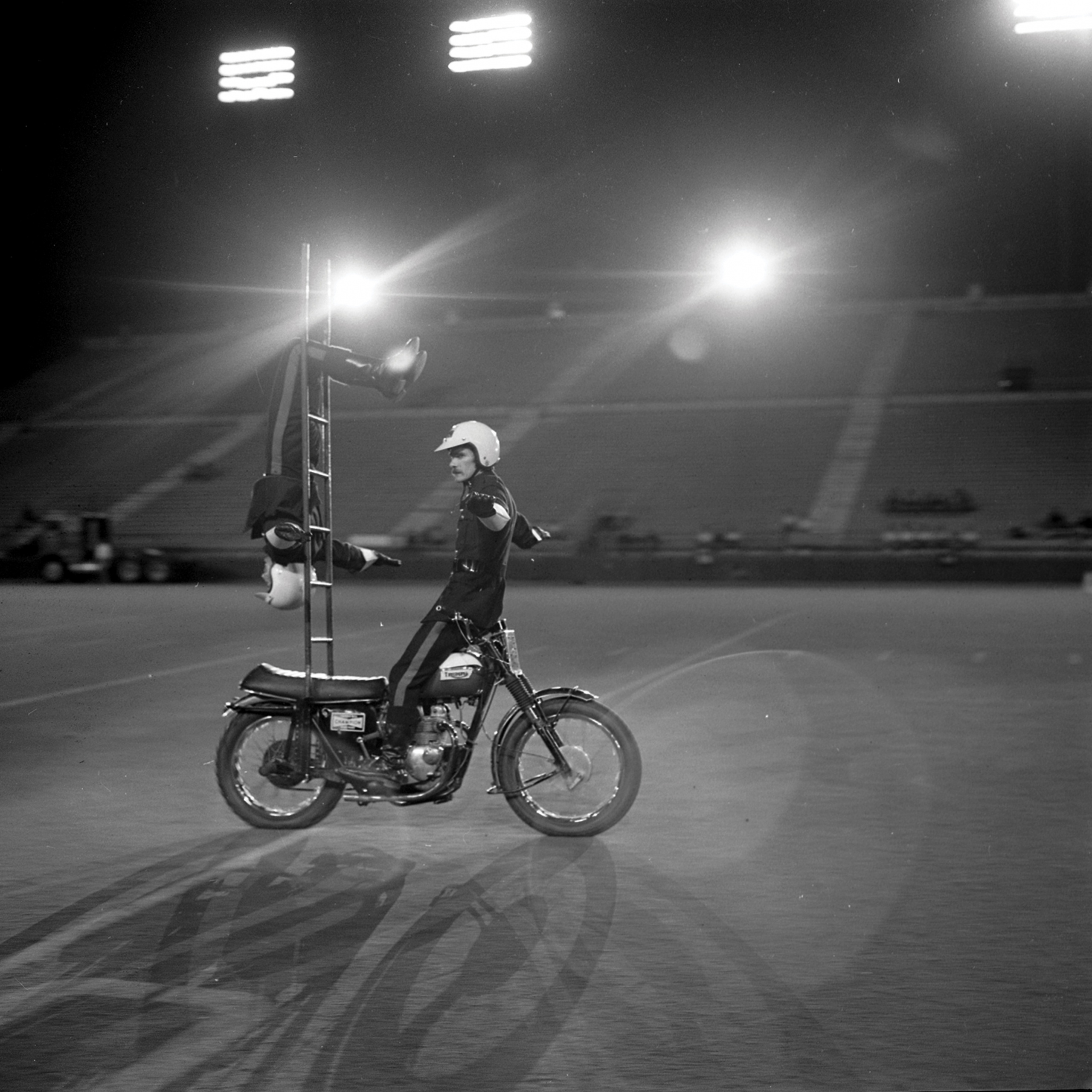 Motorcycle Rehearsal at CNE Grandstand, 1974. Canadian National Exhibition Archives, MG5-F3570-I5. Courtesy of the CNEA