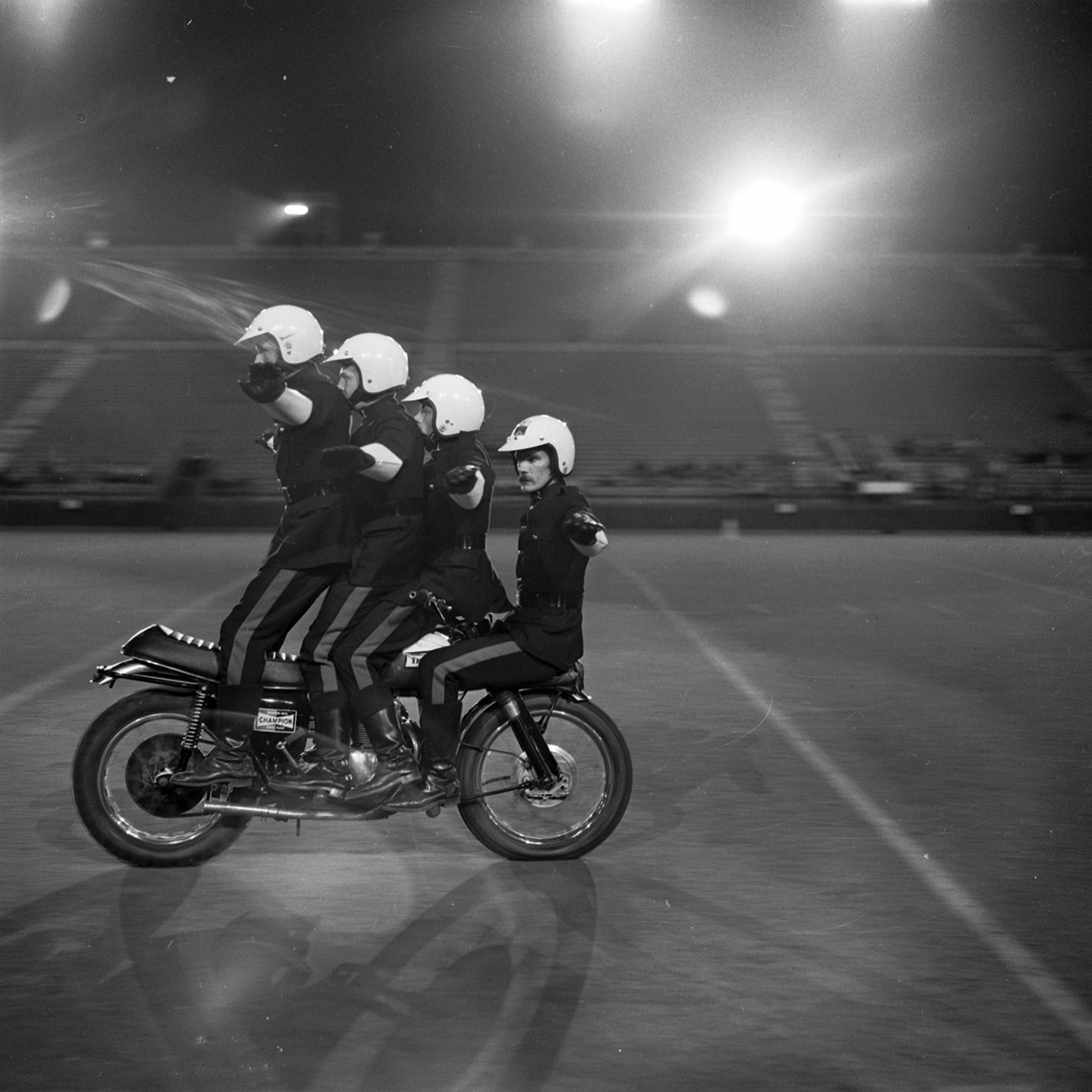 Motorcycle Rehearsal at CNE Grandstand, 1974. Canadian National Exhibition Archives, MG5-F3570-I7. Courtesy of the CNEA