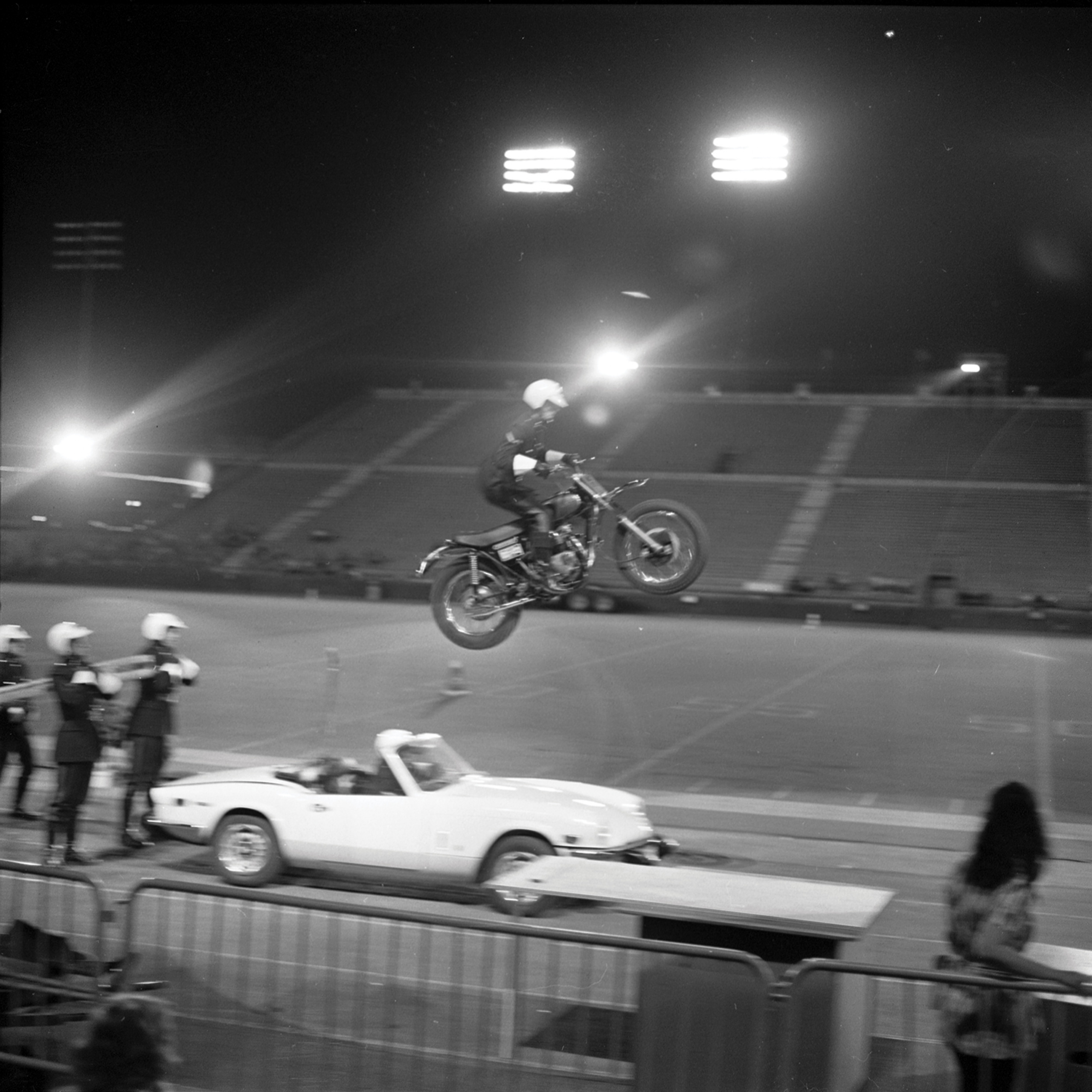 Motorcycle Rehearsal at CNE Grandstand, 1974. Canadian National Exhibition Archives, MG5-F3570-I8. Courtesy of the CNEA