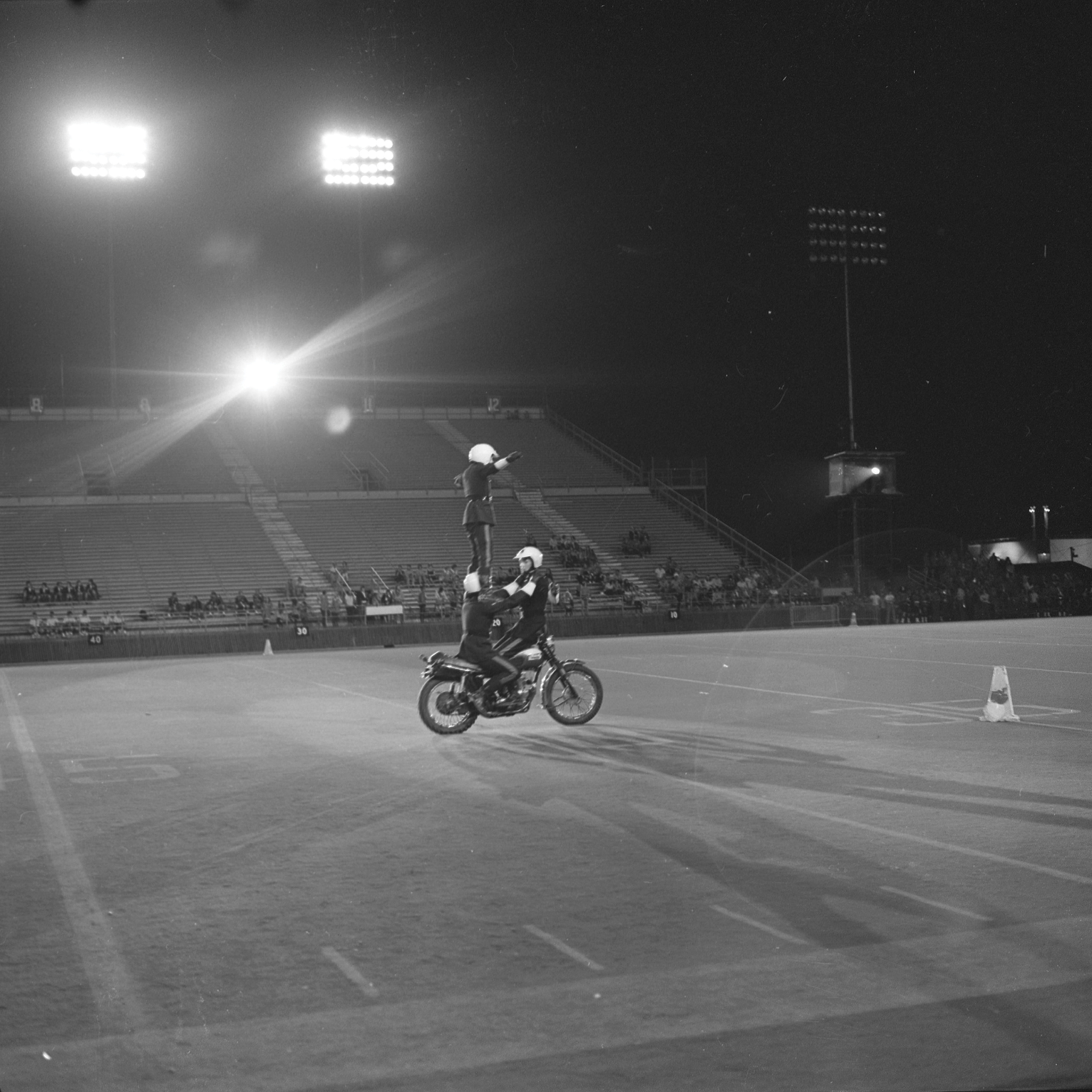 Motorcycle Rehearsal at CNE Grandstand, 1974. Canadian National Exhibition Archives, MG5-F3570-I10. Courtesy of the CNEA