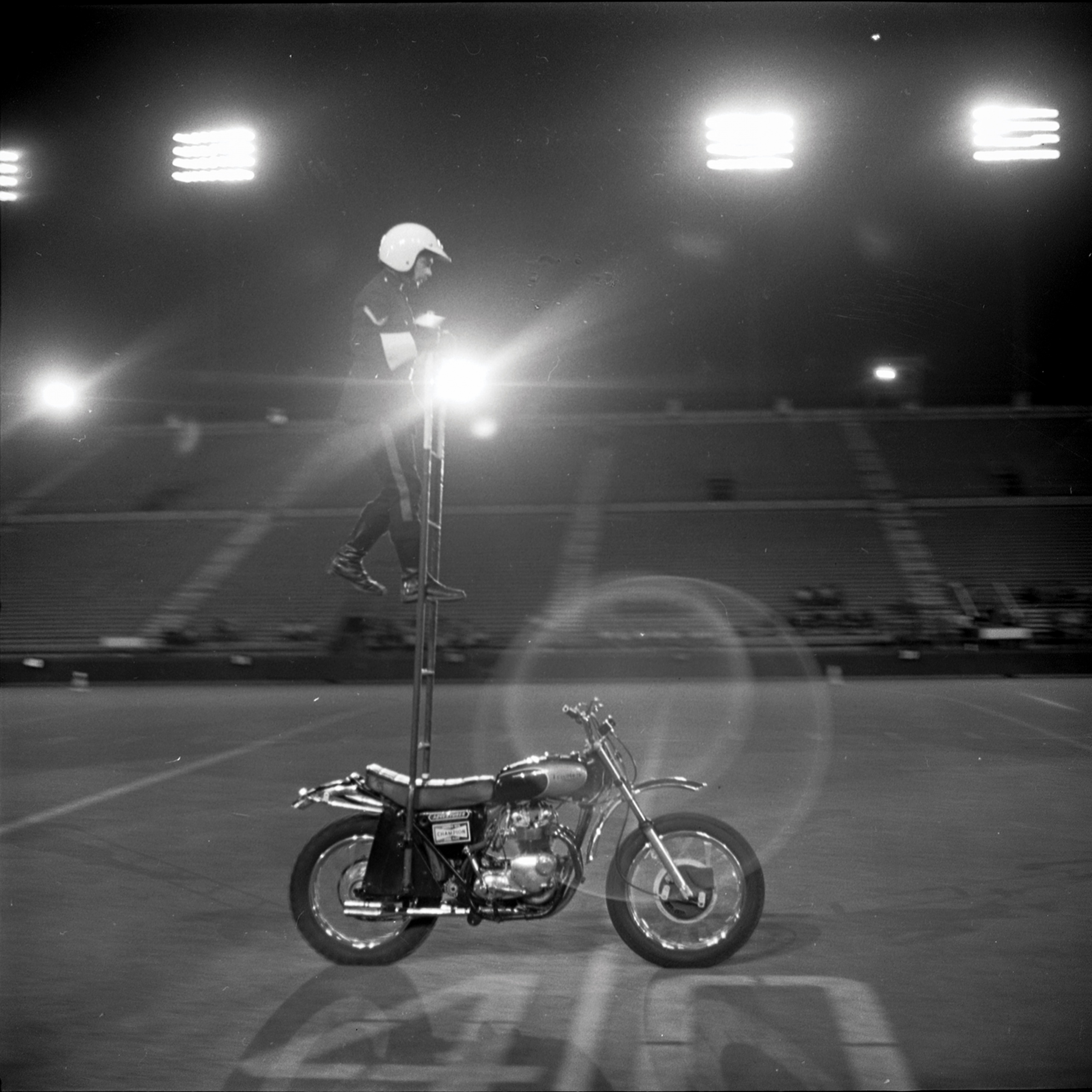 Motorcycle Rehearsal at CNE Grandstand, 1974. Canadian National Exhibition Archives, MG5-F3570-I11. Courtesy of the CNEA
