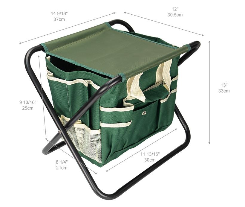 7-Piece Garden Plant Tool Set Folding Stool W/Tool Bag & 5 Stainless Steel Tools