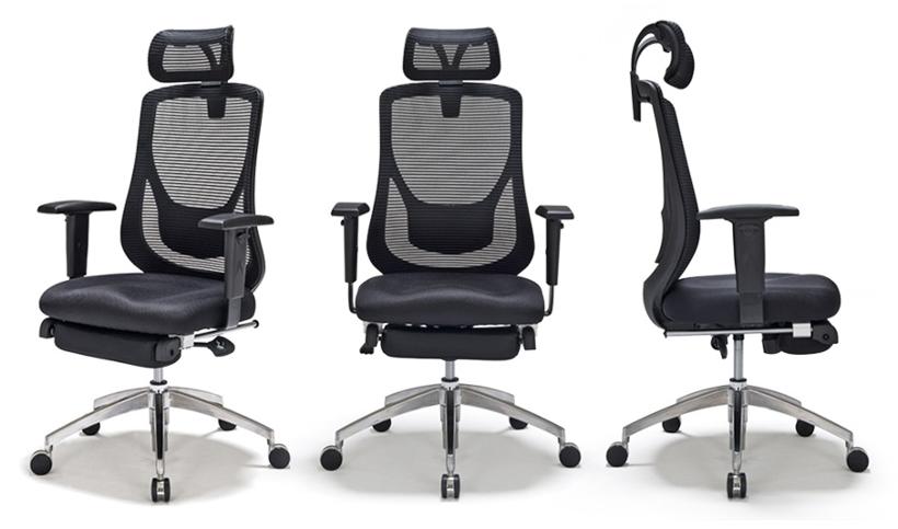 Headrest  sc 1 st  123Ink & Moustache® Adjustable Mesh Office Chair with Footrest - Black ...