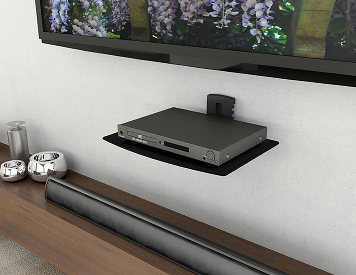 Single Glass Shelf Wall Mount Bracket Under Tv Component Cable Box