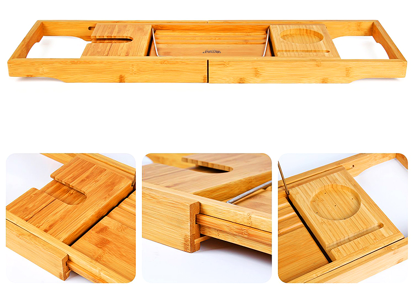 Bamboo Bathtub Caddy Tray, with Extending Sides and Reading Rack ...