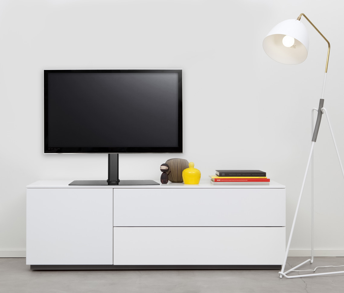 Universal Flat Tv Table Top Stand Mount Foot On Table Or Furniture  # Meuble Tv Angle Spaceo