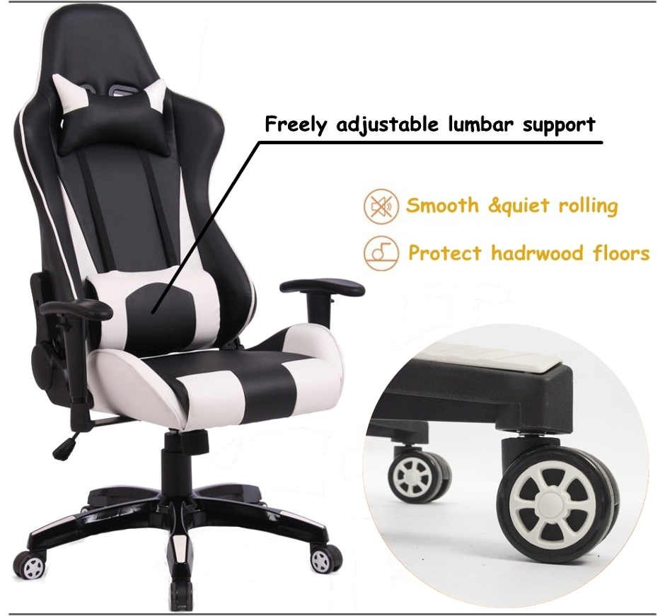 Ergonomic Racing Gaming Chair Black And White Moustache