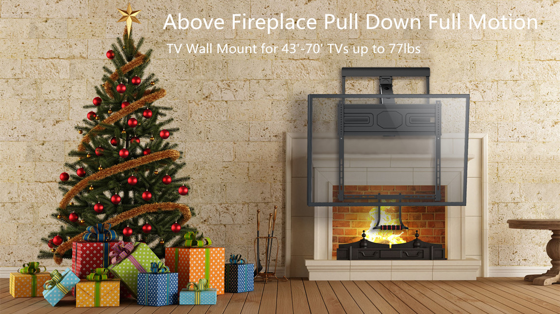 Primecables Com Full Motion Above Fireplace Pull Down Tv