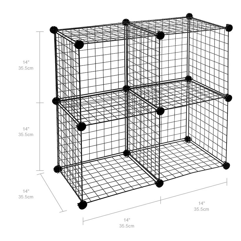 4 cube storage shelving rack diy wire grid bookcase modular books toys clothes ebay. Black Bedroom Furniture Sets. Home Design Ideas