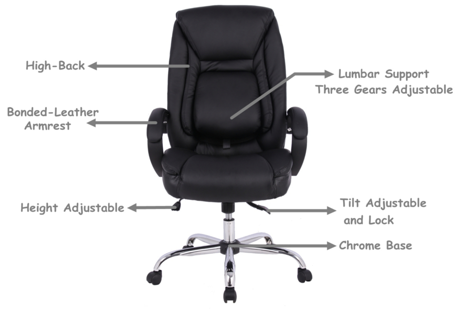 moustache ergonomic faux leather high back office chair with