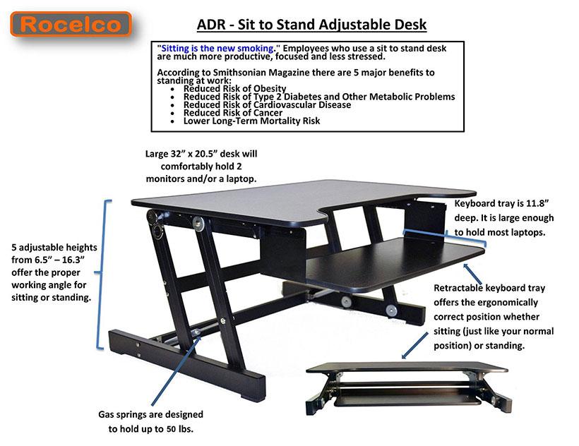 Rocelco 174 Height Adjustable Standing Monitor Ergonomic Desk