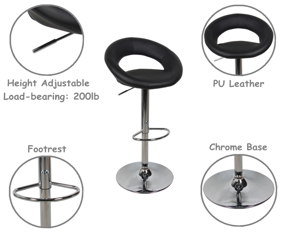 Adjustable Height Swivel Moon Shape Bar Stool