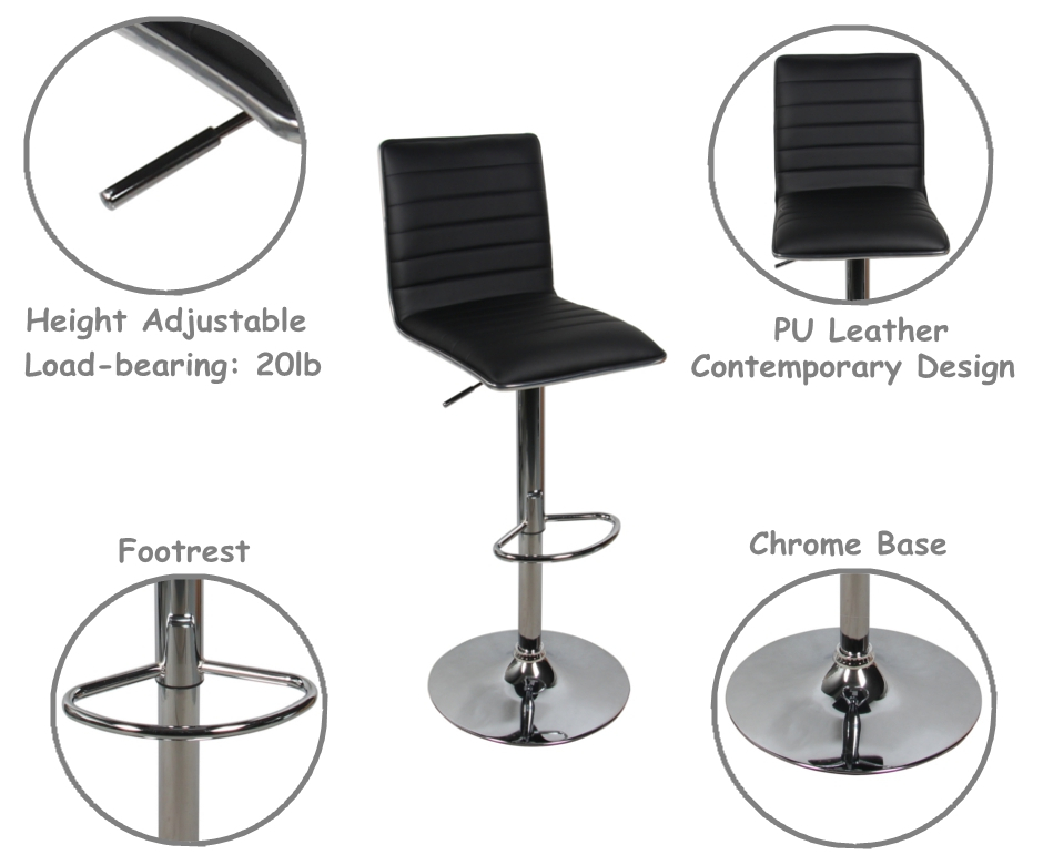 High Back Adjustable Swivel Bar Stool Black