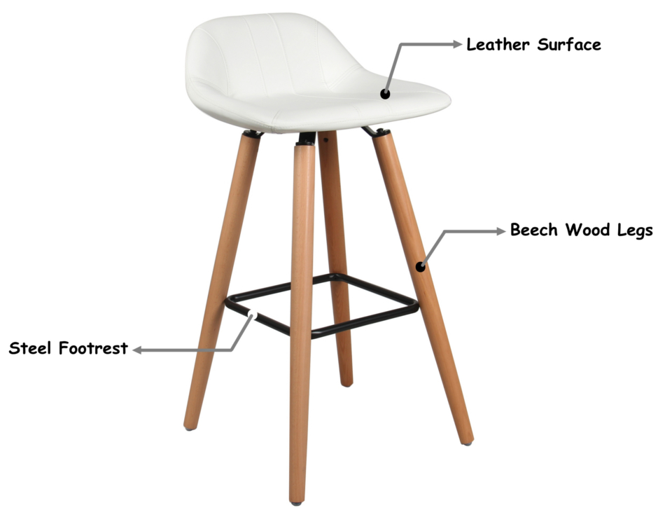Moustache 174 Leather Bar Stool With Beech Wood Legs White