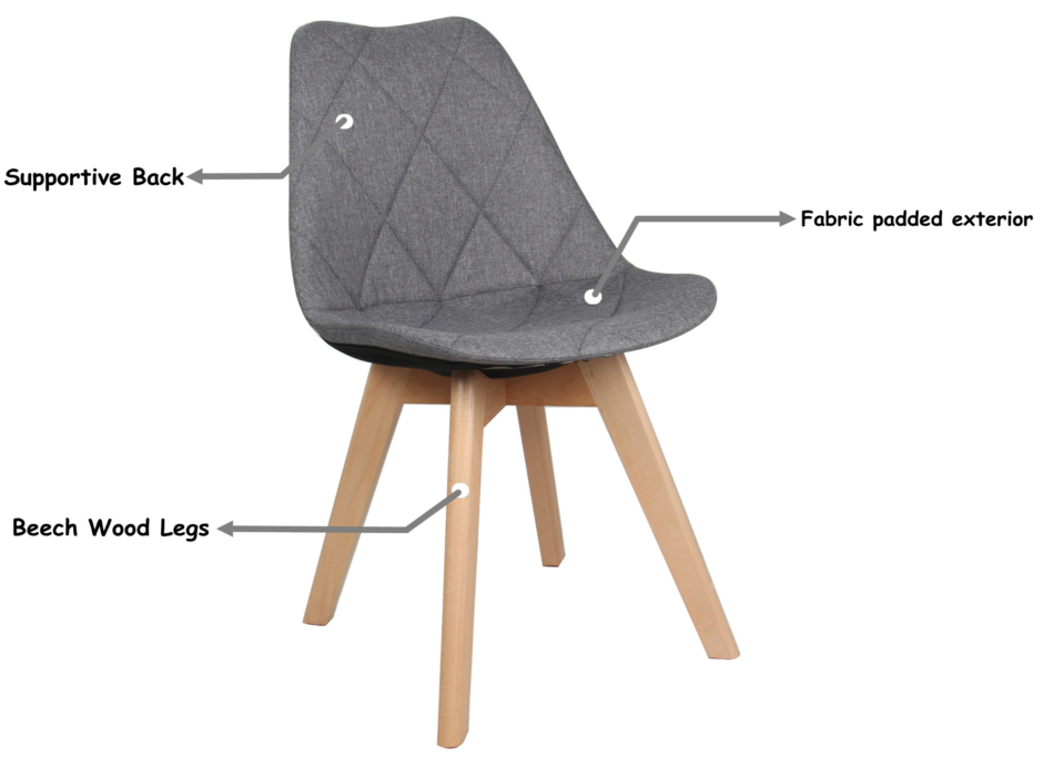 Fabric Kitchen Amp Dining Chairs With Beech Wood Legs Gray