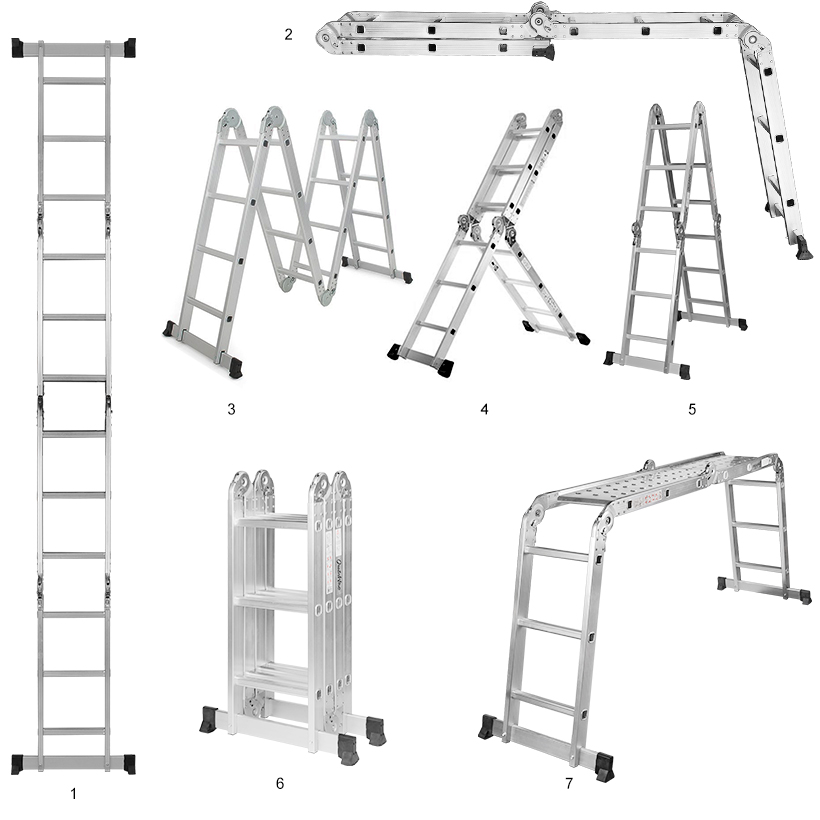GreenWise® 7-in-1 Aluminum Folding Scaffold Work Ladder W/ 2
